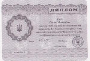 Гриб Оксана Николаевна